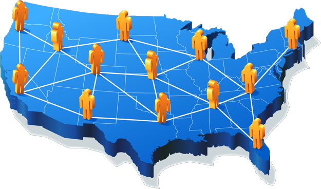 About Us Bharti Network Solution - Us map with people